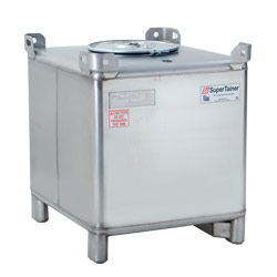 350 Gallon Supertainer Stainless Steel IBC Tote with EPDM