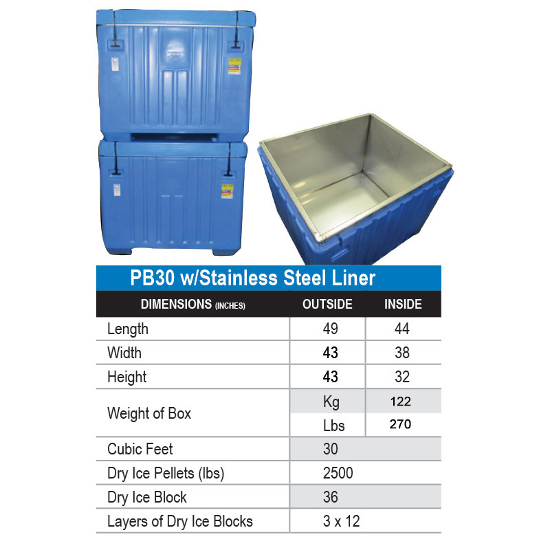 30 cu ft Insulated HDPE Bin w/ Stainless Steel Liner & Lid (PB30)