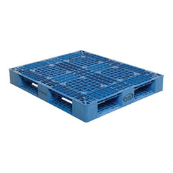 Multipurpose plastic pallet 48x40x6 in, 4-way, Vestil plp2-4840-blue