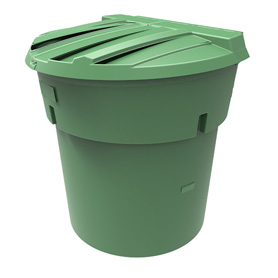 300 Gal Green Round Refuse Container 50/50 Lid
