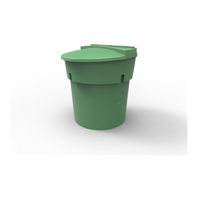 300 Gal Green Round Refuse Container 70/30 Lid
