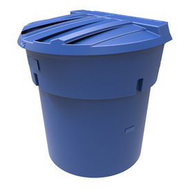 300 Gal Blue Round Refuse Container 50/50 Lid