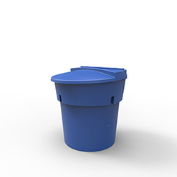 300 Gal Blue Round Refuse Container 70/30 Lid