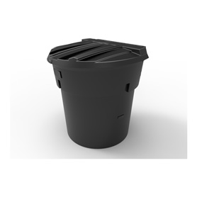 300 Gal Black Round Refuse Container 50/50 Lid