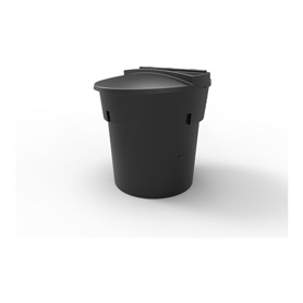 300 Gal Black Round Refuse Container 70/30 Lid