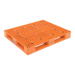 Multipurpose plastic pallet 48x40x6 in, 4-way, Vestil plp2-4840-orange
