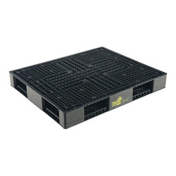 Double sided plastic pallet 48x40x6 in, 4-way, black, Vestil plpb-4840