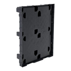 Plastic pallet with lip 48x40x6 in, 4-way, black, Vestil plpg-4840-lip