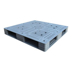 Double sided 4-way plastic pallet 48x48x6in, gray, Vestil plpg-4848-hd