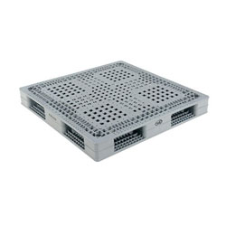 Double sided plastic pallet 48x48x6 in, 4-way, gray, Vestil plpg-4848