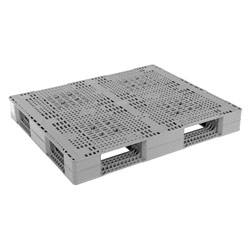 Double sided plastic pallet 48x40x6 in, 4-way, gray, Vestil plpr-4840