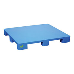 Plastic pallet 48x40x6 in, 4-way, smooth top blue, Vestil plps-4840-9l