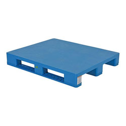 Plastic pallet 48x40x6 inch, 4-way, solid top, blue, Vestil plps-h