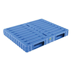 Double sided plastic pallet 47x39x6 inch, 2-way, blue, Vestil plps-wd