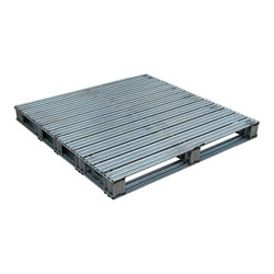 Rackable galvanized steel pallet 48x48x4.75 in, 2-way, Vestil spl-4848